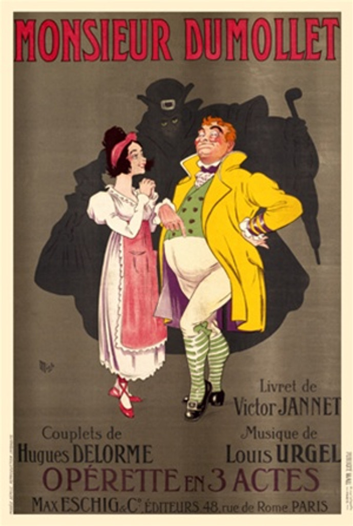 Monsieur Dumollet by Mich 1920 France - Beautiful Vintage Poster Reproductions. This vertical French theater exhibition poster features a woman in pink and man in yellow with a shadowy figure looming behind them. Giclee Advertising Print. Classic Posters