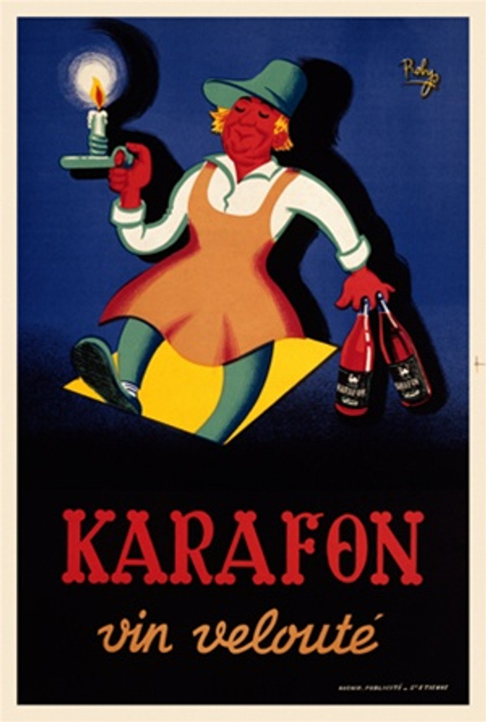 Karafon Vins 1950 France - Beautiful Vintage Poster Reproductions. This vertical French wine and spirits poster features a person coming out of a cellar holding a candle and 2 bottles of liquor. Giclee Advertising Print. Classic Posters
