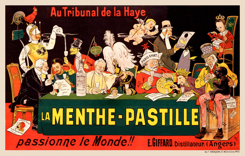 Menthe Pastille Passionne Le Monde poster by Eugene Oge 1905 France - Beautiful Vintage Poster Reproduction. This horizontal French wine and spirits poster features a table packed with dignitary, soldiers, cherub, etc drinking together. Giclee Advertising Prints. Classic Posters