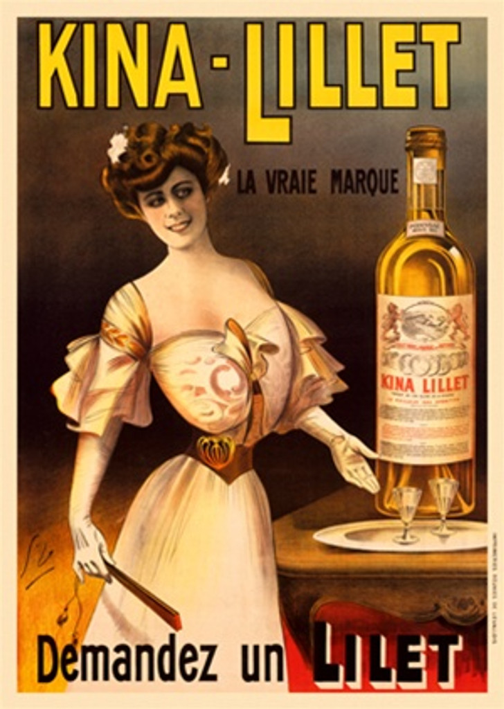 Kina Lillet Beautiful Vintage Poster Reproduction by Dola. This vertical French wine and spirits poster features a women in a formal dress motioning to a tray of glasses next to a giant bottle. Giclee Advertising Prints. Classic Posters