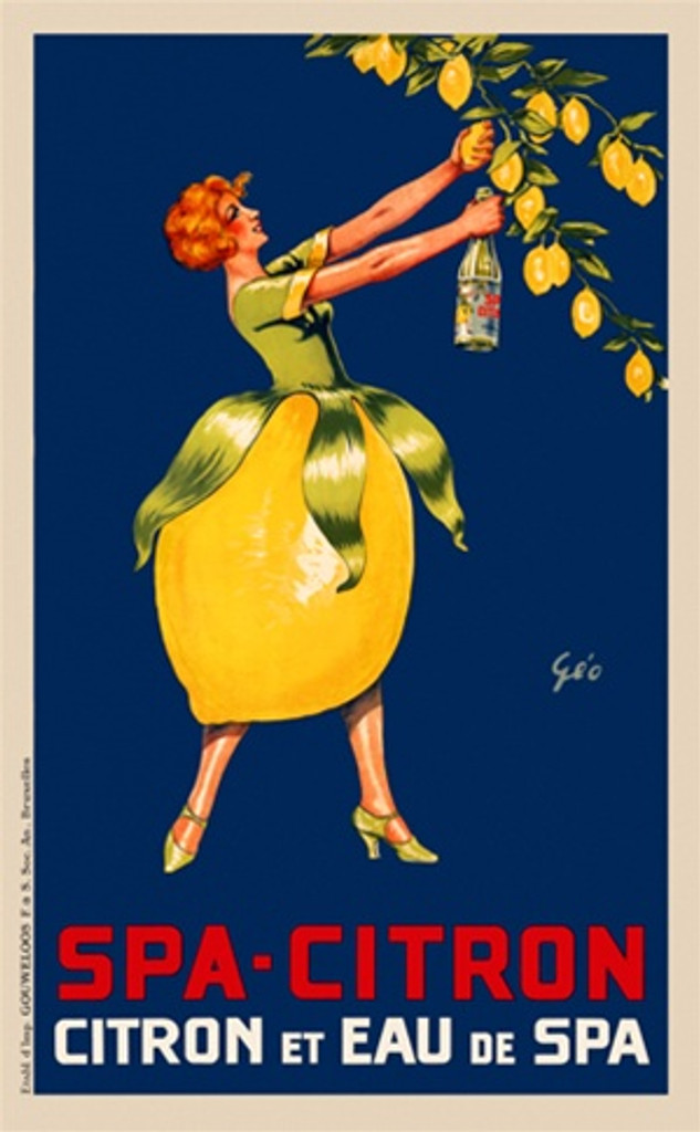 Spa Citron Et Eau poster by Geo Ham 1930 Belgium - Beautiful Vintage Poster Reproduction. This vertical Belgian culinary / food poster features a woman in a lemon skirt reaching to squeeze a lemon off a tree into a bottle. Giclee Advertising Prints. Classic Posters