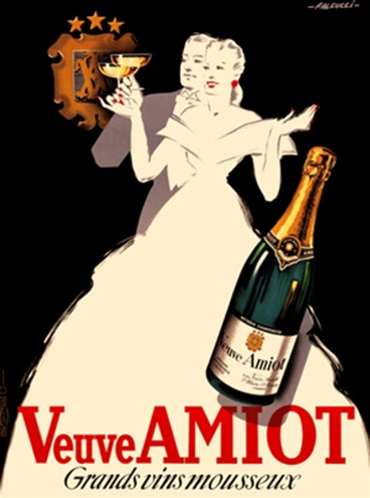 Veuve Amiot Grands Vins champagne poster by Robert Falcucci 1930 France - Beautiful Vintage Poster Reproduction. French wine and spirits poster features a formally dressed couple in black and white toasting Champagne. Giclee Advertising Prints. Classic Posters