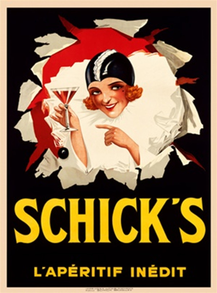 Schick's L'Aperitif Inedin Cocktail Beautiful Vintage Poster Reproduction.  Belgium wine and spirits poster features woman with red hair and black hat busting through the black background with a martini. Giclee Advertising Prints. Classic Posters