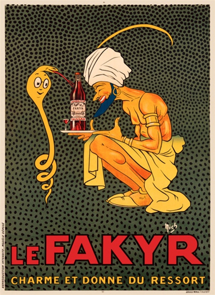 Le Fakyr by Mich poster France - Beautiful Vintage Poster Reproductions. This French wine and spirits poster features a snake charmer presenting tray of beer bottles to a snake who smiles and sticks out its tongue. Giclee Advertising Print. Classic Poster