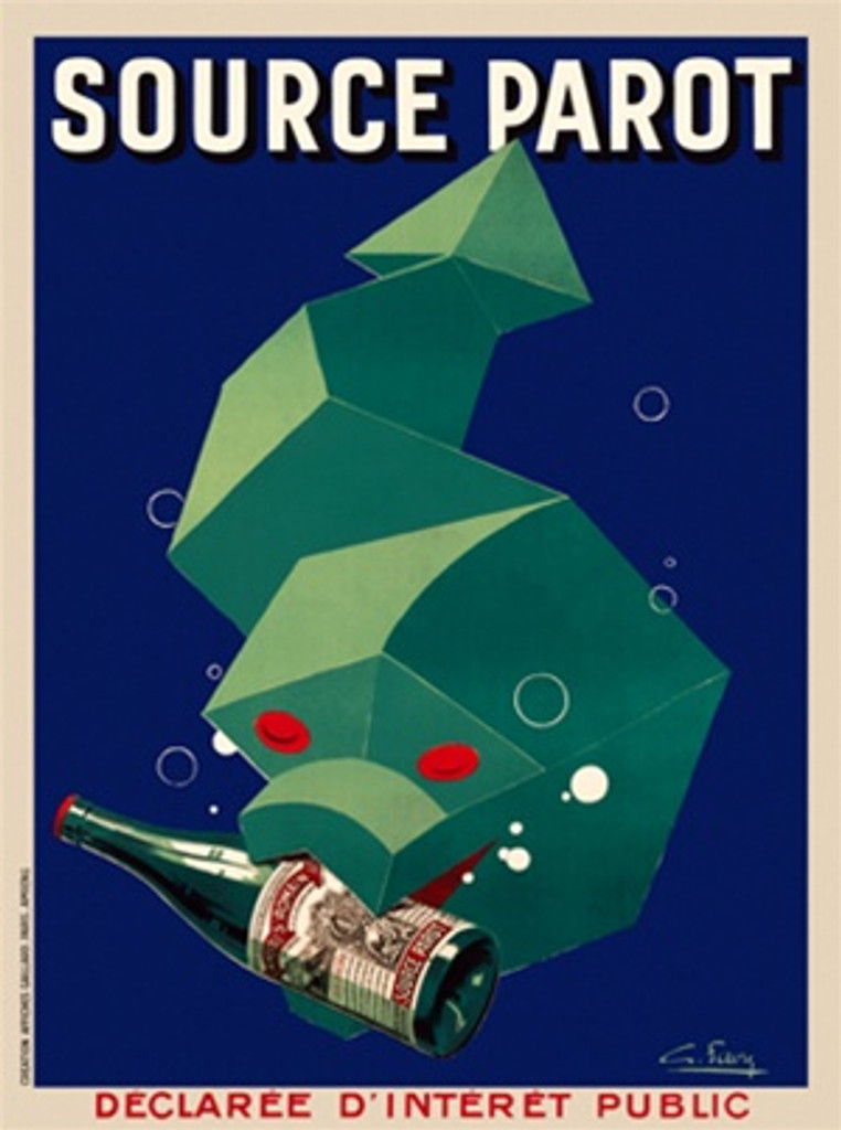 Source Parot 1930 France - Beautiful Vintage Poster Reproductions. This vertical French culinary / food poster features a cubist green snake swimming with a bottle in his mouth and bubbles around him. Giclee Advertising Print. Classic Posters