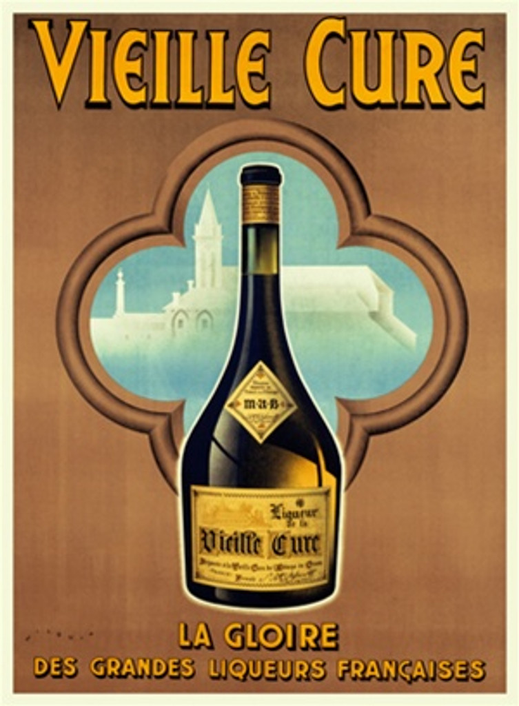 Liqueur Vieille Cure poster by Wilquin 1930's France - Vintage Poster Reproduction. This French wine and spirits poster features a bottle in front of a clover shaped window showing a white church against a blue sky. Giclee Advertising Prints. Classic Posters