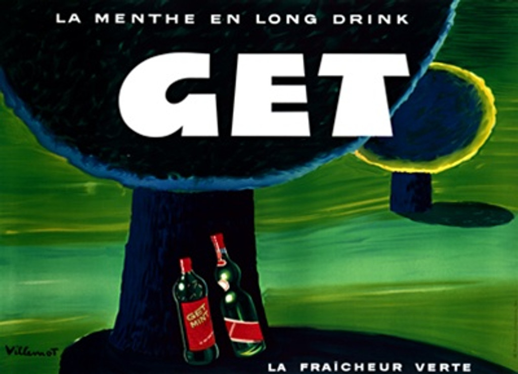 Get La Menthe poster by Bernard Villemot 1955 France - Beautiful Vintage Poster Reproduction. This horizontal French wine and spirits poster features a dark, round tree with two bottles under it in a green field. Giclee Advertising Prints. Classic Posters. La Fraicheur Verte