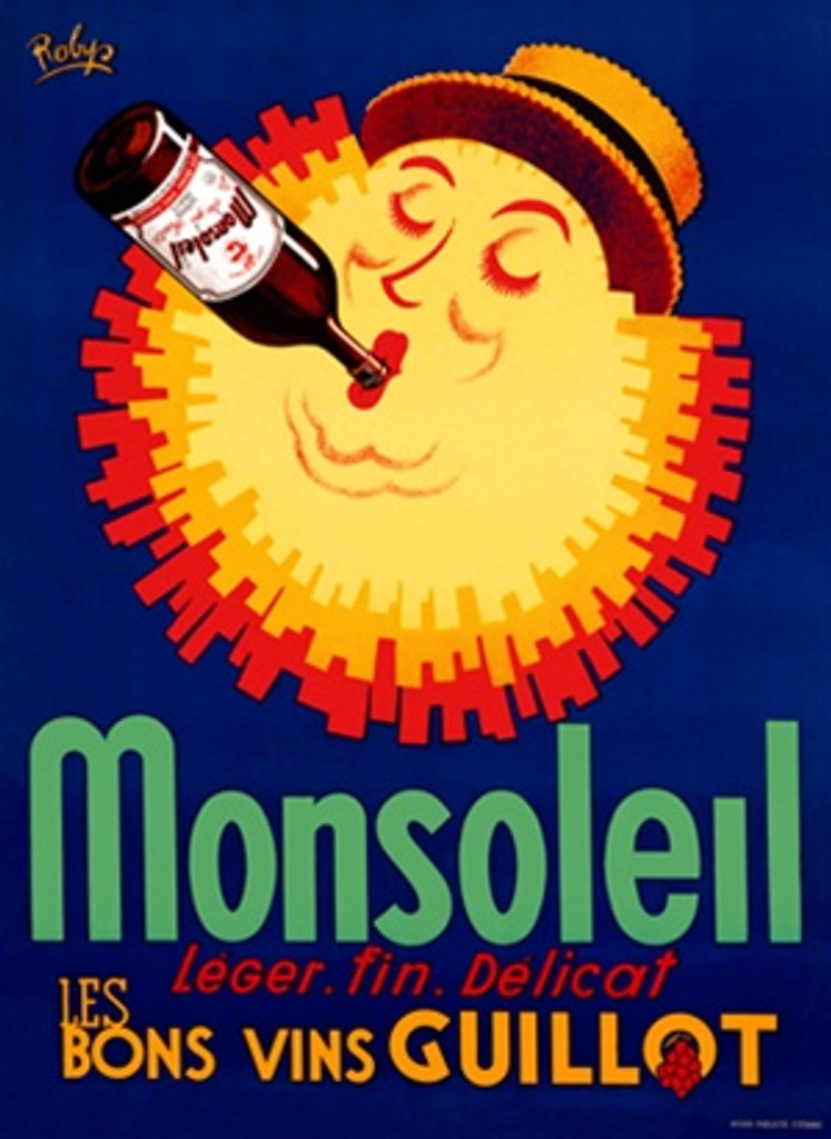Monsoleil Vins Guillot poster by Robys 1950 France - Beautiful Vintage Poster Reproduction. This vertical French wine and spirits poster features a sun wearing a hat and drinking a bottle of wine against a blue background. Giclee Advertising Prints. Classic Posters