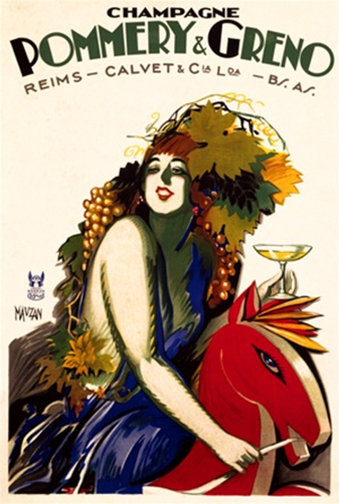 Champagne Pommery and Greno by Mauzan 1930 French - Beautiful Vintage Poster Reproductions. This French wine and spirits poster features a women draped in grapes and leaves on a horse holding a glass of Champagne. Giclee Advertising Print. Classic Posters