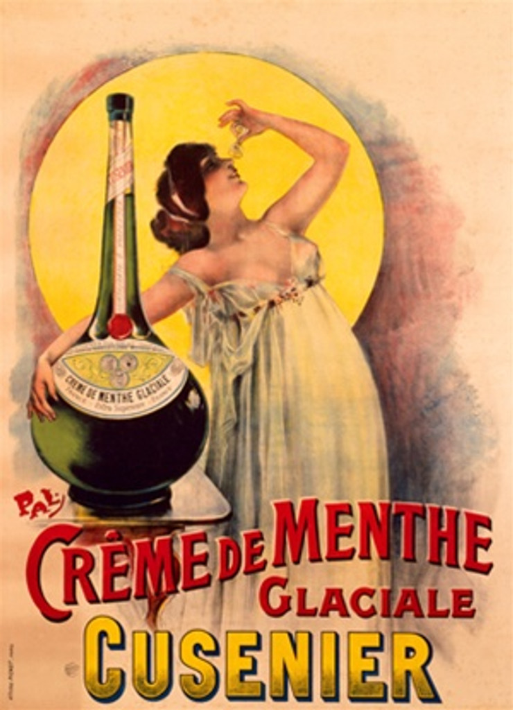 Creme de Menthe poster by PAL 1905 France - Beautiful Vintage Poster Reproduction. This French wine and spirits poster features a women with her arm around a giant bottle leaned back in front of a yellow circle. Giclee Advertising Prints. Classic Posters