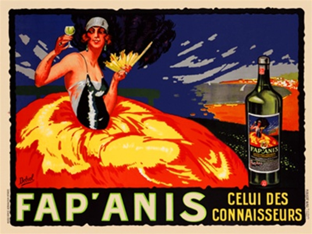 Fap'Anis Aperitif poster by Delval 1920 France - Vintage Poster Reproductions. French wine and spirits poster features a women in a huge yellow and orange skirt with a large black fan against a blue and orange landscape. Giclee Advertising Print.