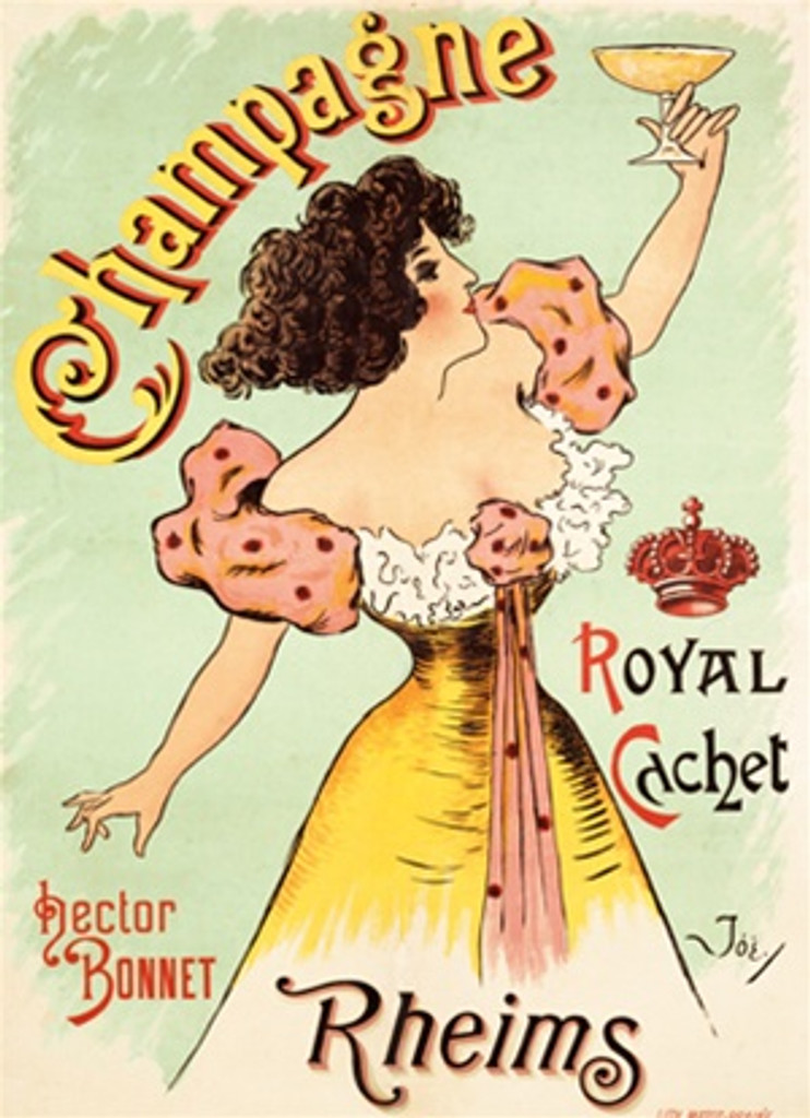 Champagne Rheims by Joe 1900 France Beautiful Vintage Poster Reproduction. This French wine and spirits poster features a woman in yellow and pink dress holding up a glass of champagne pastel green background. Giclee Advertising Prints. Classic Posters