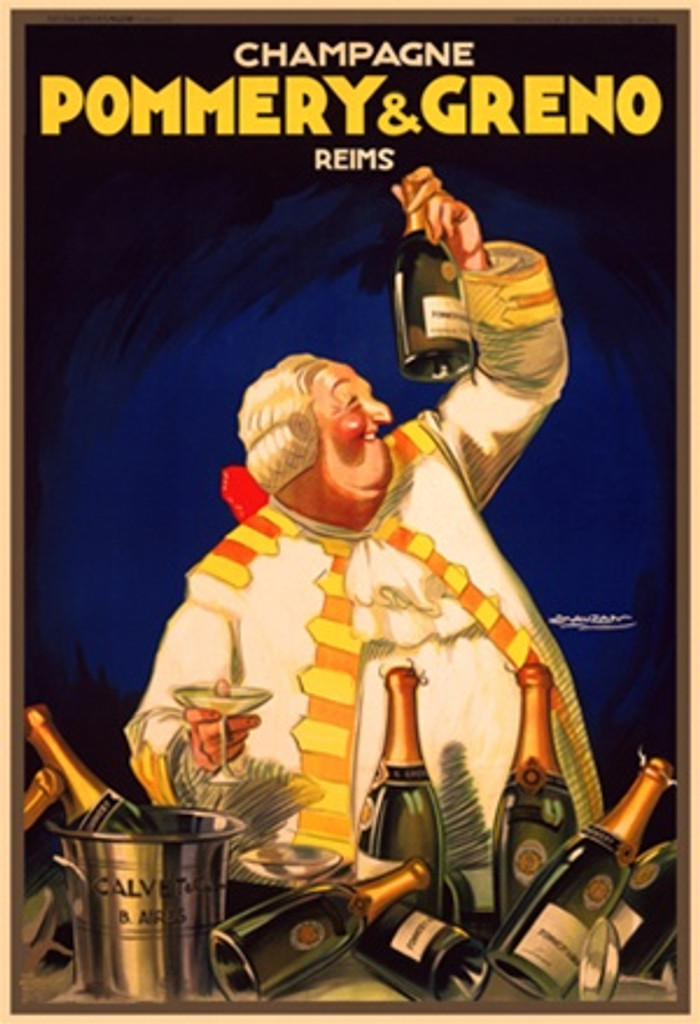 Pommery and Greno by Mauzan 1920 France - Vintage Poster Reproductions. This wine and spirits poster features a fat man in white wig and suit holding up a bottle of champagne with others piled up in front of him. Giclee Advertising Print. Classic Posters