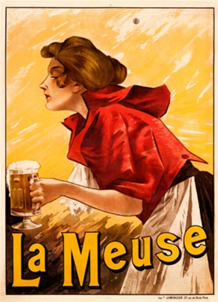La Meuse Beer poster by Imp. Mercier 1901 France - Beautiful Vintage Poster Reproduction. This French wine and spirits poster features barmaid in a red jacket and white apron delivering a mug of beer against a yellow background. Giclee Advertising Print. Fine Art Posters