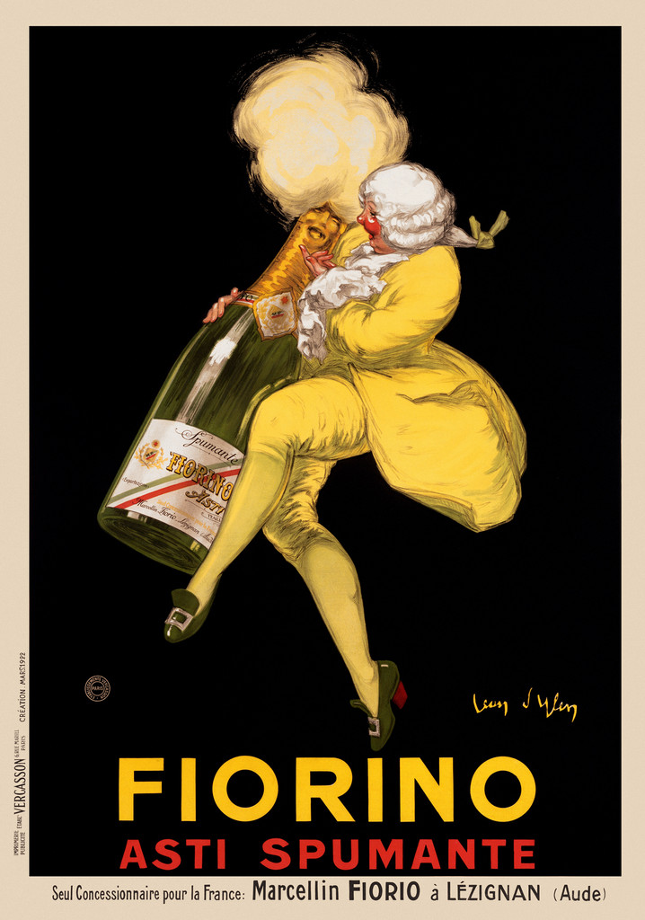 Fiorino Asti Spumante poster by Jean D'Ylen 1922 France Beautiful Vintage Poster Reproduction. This French wine and spirits poster features a nobleman in a yellow suit laughing with a giant bottle of Champagne on a black background. Giclee Advertising Prints. Fine Art Classic Posters