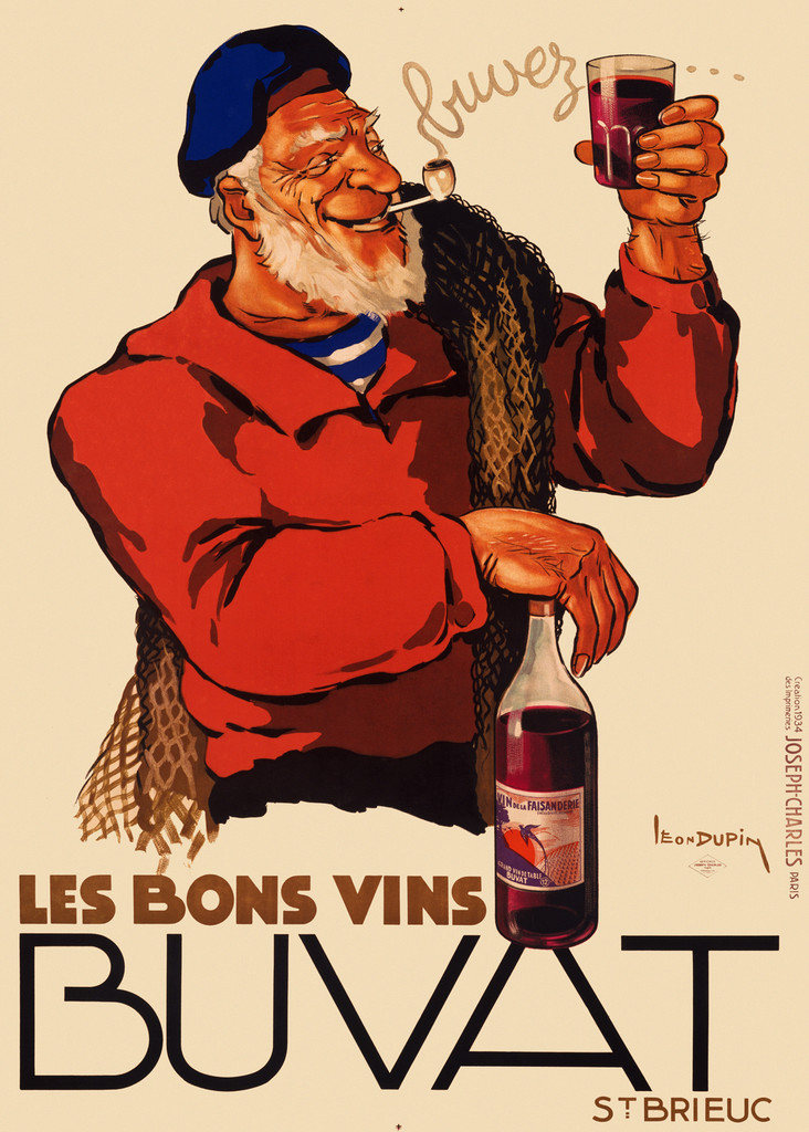 Les Bons Vins Buvat poster by Leon Dupin 1934 France - Vintage Poster Reproduction. This French wine and spirits poster features a sailor in red shirt and blue hat smoking a pipe and holding a glass with other hand on a bottle. Giclee Advertising Prints. Fine Art Classic Posters