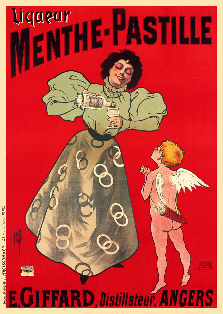Menthe Pastille poster by Misti 1900 France - Beautiful Vintage Poster Reproduction. This vertical French wine and spirits poster features a woman pouring a glass of Liquor for a young cupid against a red background. Giclee Advertising Prints. Classic Posters