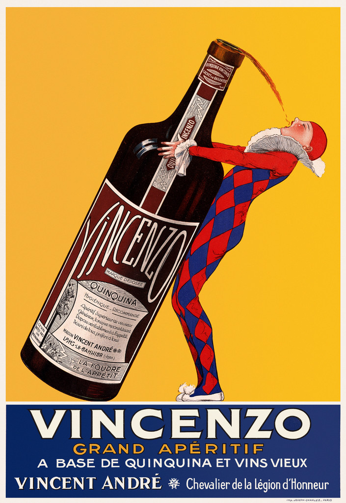 Grand Aperitif Vincenzo by J. Stall 1925 France - Vintage Poster Reproduction. French wine and spirits poster features a jester in blue and red diamond suit tipping a giant bottle to take a sip on a yellow background. Giclee Advertising Print. Classic Posters