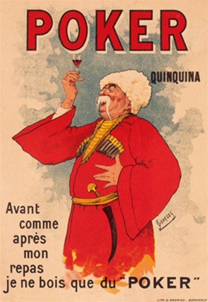 Poker Quinquina 1900 France - Beautiful Vintage Poster Reproduction. French wine and spirits poster features a Russian man with a white moustache in red jacket and white hat holding up a glass. Giclee Advertising Print. Classic Posters