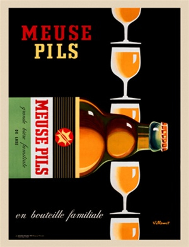 Meuse Pils by Bernard Villemot 1968 France - Vintage Poster Reproduction. This vertical French wine and spirits poster features a stack of glasses of beer and a bottle on its side in front of them on a black background. Giclee Advertising Print. Fine Art Posters