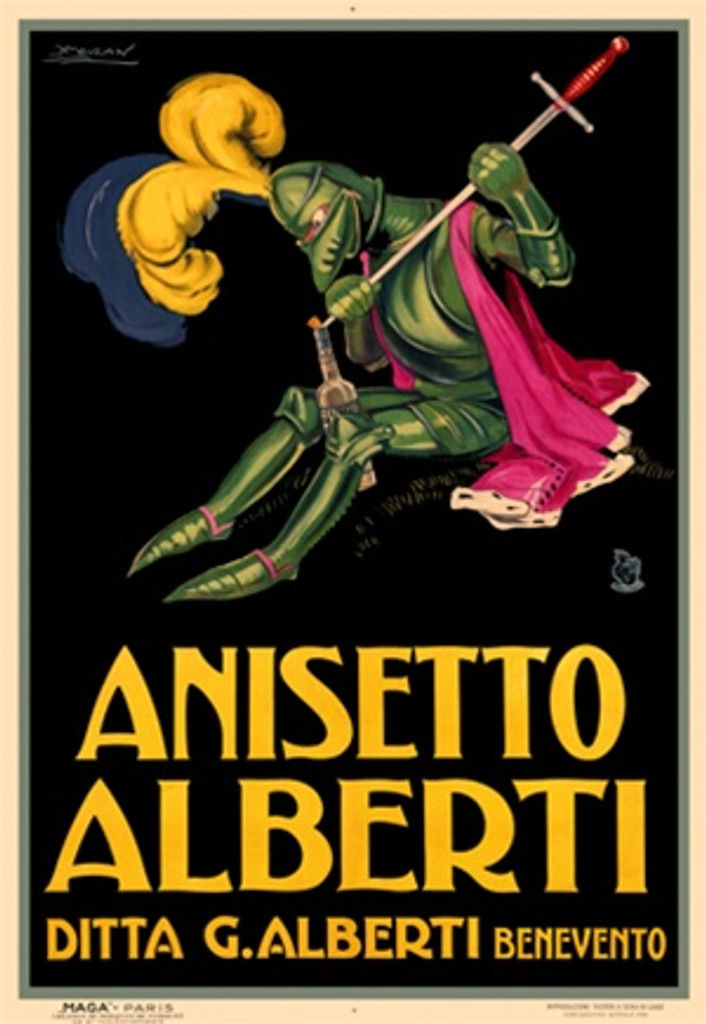 Anisetto Alberti by Mauzan 1925 Italy - Vintage Poster Reproductions. This Italian wine and spirits poster features a knight with feathers in his helmet uses a sword to open a bottle on a black background. Giclee Advertising Print. Classic Posters