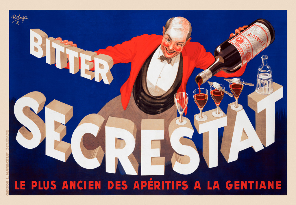 Bitter Secrestat poster by Robys 1935 France - Vintage Poster Reproduction. This horizontal French wine and spirits poster features a bartender in red jacket pouring glasses set on the text against a blue background. Giclee Advertising Print. Fine Art Posters