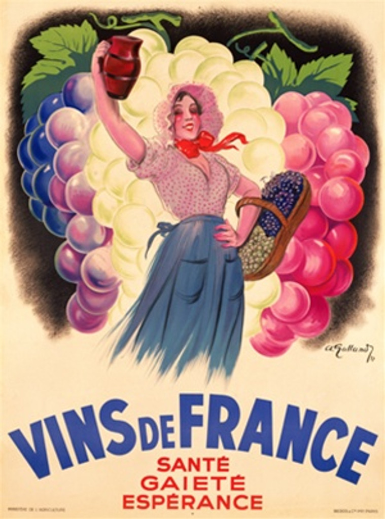 Vins de France 1937 France - Beautiful Vintage Poster Reproductions. French wine and spirits poster features a woman with a basket of grapes holding up a pitcher in front of bunches of grapes. Giclee Advertising Print. Classic Posters