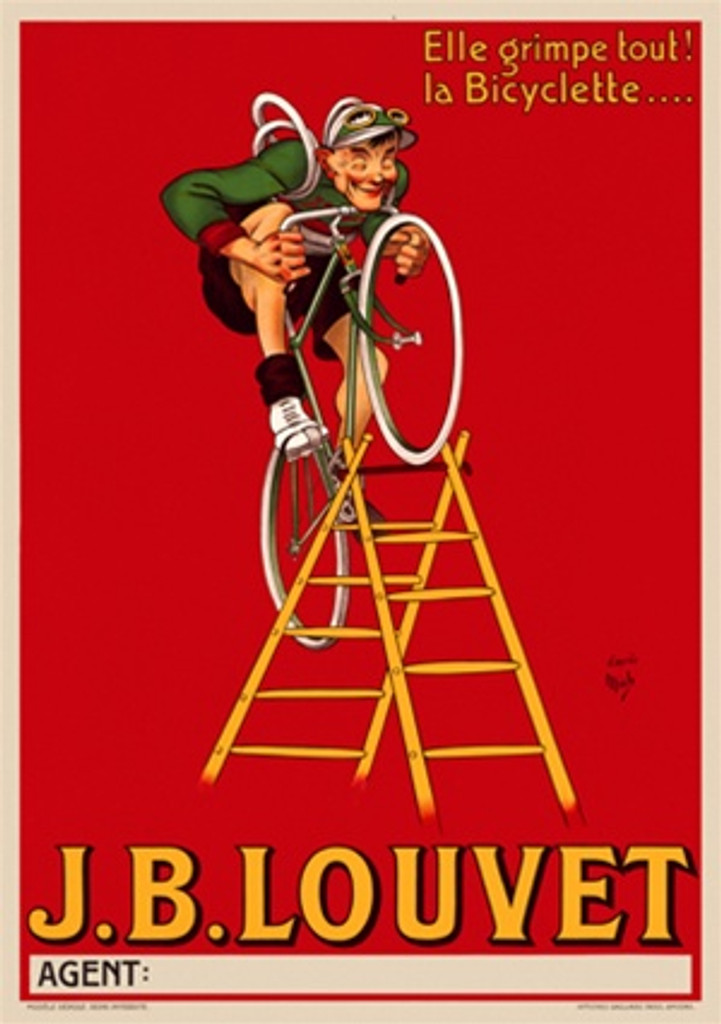 J.B Louvet bicycle poster by Mich - Beautiful Vintage Posters Reproductions. French transportation poster features a cyclist in a green jersey riding a bicycle up a latter against a red background. Giclee Advertising Print. Classic Posters