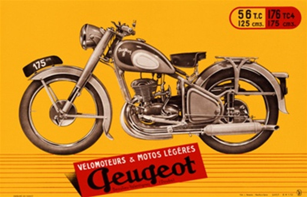 Peugeot Motos 1940 France - Beautiful Vintage Poster Reproductions. This horizontal French transportation poster features a motorcycle on a yellow background with red sign in front. Giclee Advertising Print. Classic Posters