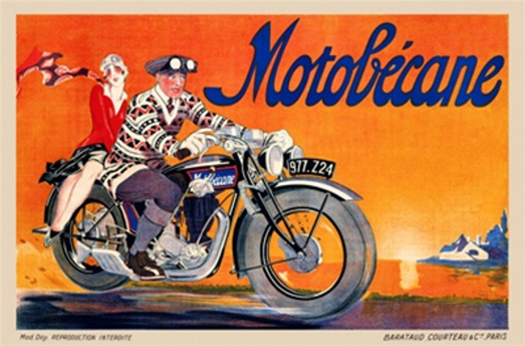 Motobicane by Ham 1920 France - Vintage Posters Reproductions. French transportation poster features a couple on a motorcycle with an orange sky and mountains behind them. Giclee Advertising Prints.
