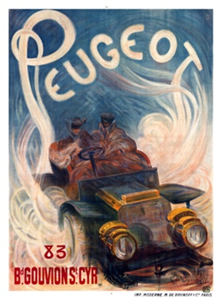 Peugeot by Buggeill 1904 France - Beautiful Vintage Poster Reproductions. This vertical French transportation poster features two people in a car bundled up driving through a fog which floats up to spell Peugeot. Giclee Advertising Print. Classic Posters