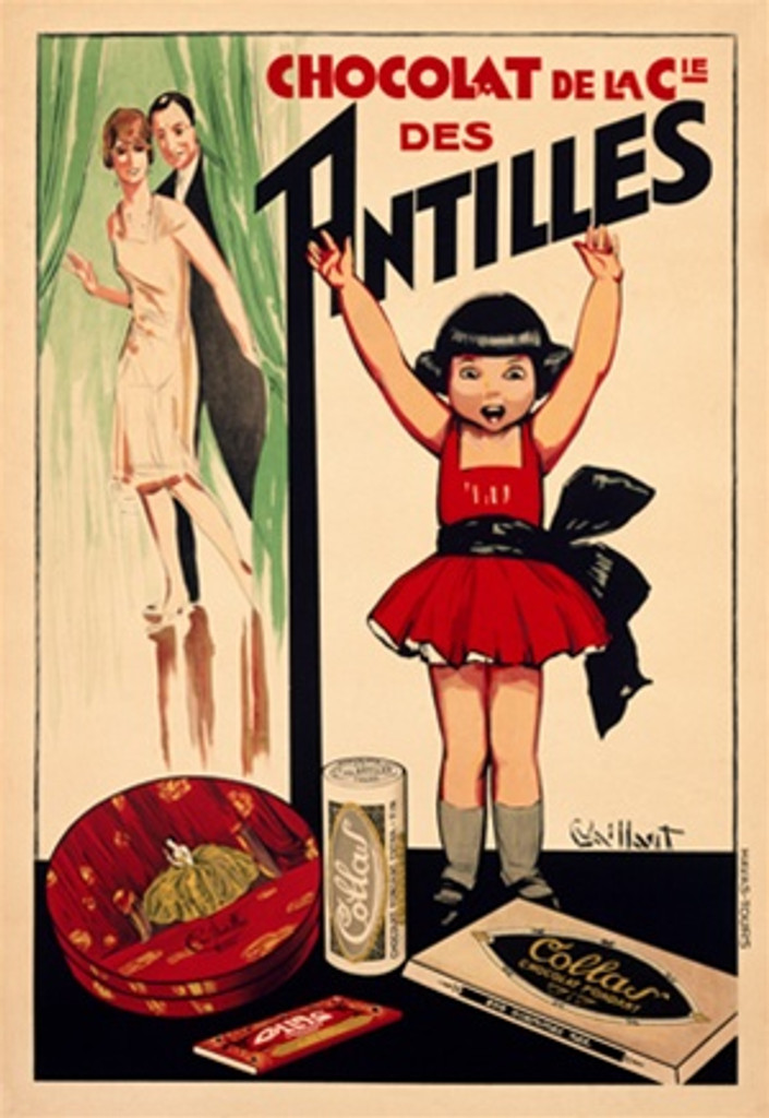 Chocolat de Antilles by Vaillant 1927 French - Vintage Poster Reproductions. This French culinary/food poster features a child in a red dress with her hands up and her parents looking at her from behind a curtain. Giclee Advertising Print. Classic Posters