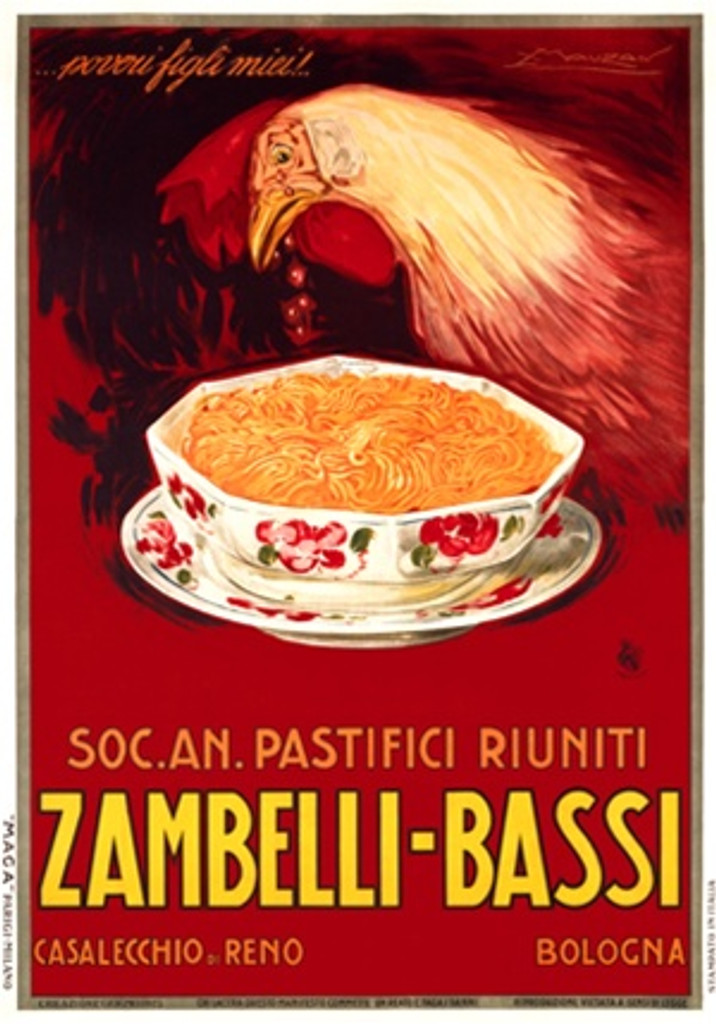 Zambelli Bassi by Mauzan 1925 Italy - Beautiful Vintage Poster Reproductions. This vertical Italian culinary food poster features rooster about to each a bowl of pasta on a red background. Giclee Advertising Print. Classic Posters