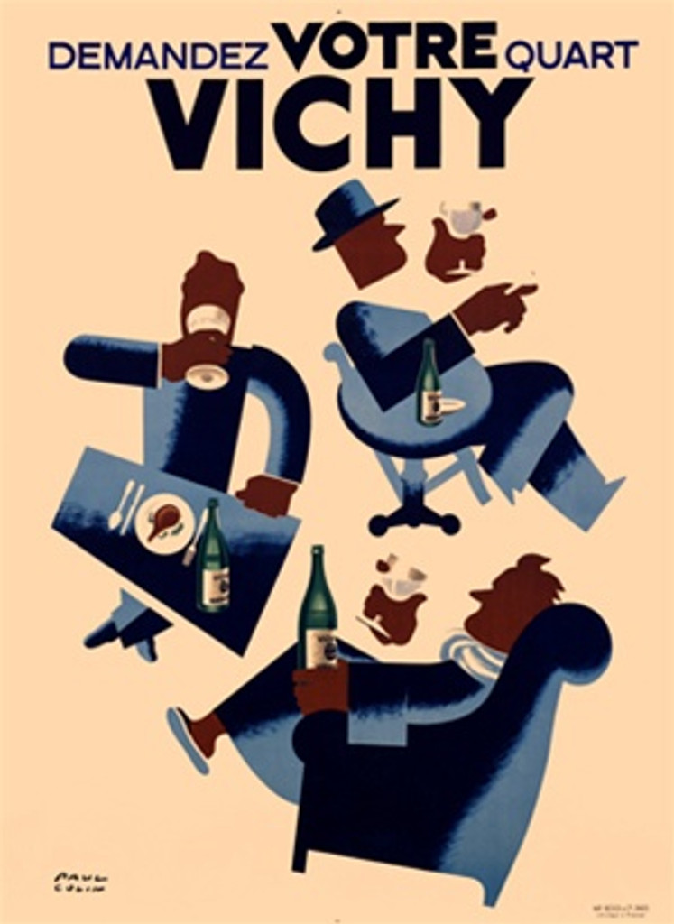 Vichy Water by Paul Colin 1952 France - Beautiful Vintage Poster Reproductions. French culinary / food poster features three graphic men drinking water at a cafe, a dinning table and in a arm chair. Giclee Advertising Print. Classic Posters