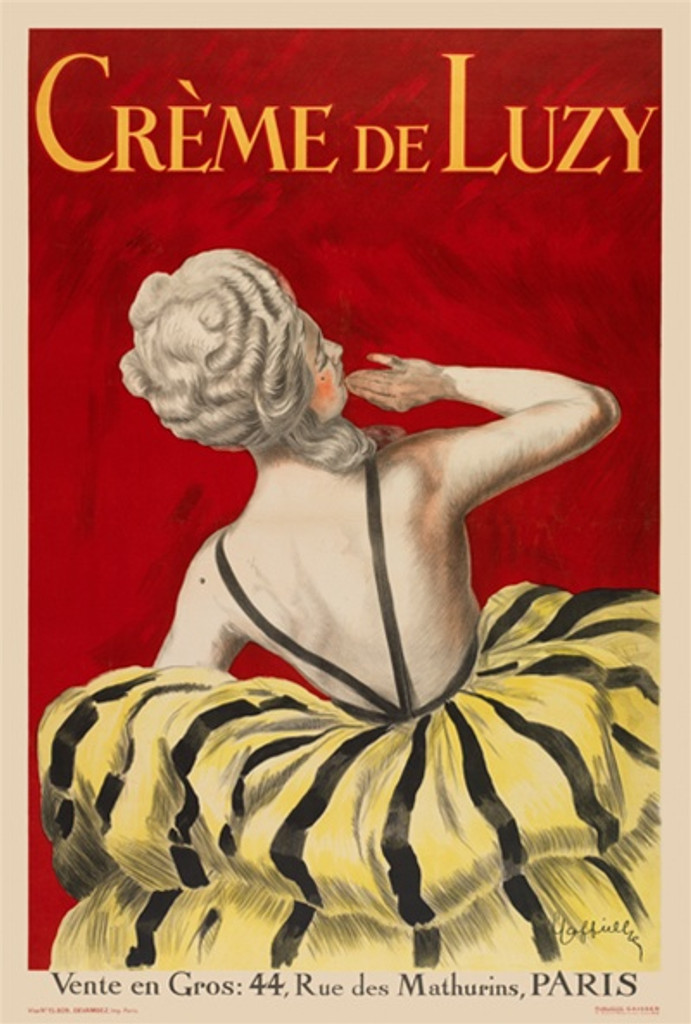 Creme De Luzy by Cappiello 1919 French - Vintage Poster Reproductions. This vertical French poster features a woman in a white wig with her back to us and a yellow and black stripe dress against a red background. Giclee Advertising Print. Classic Posters