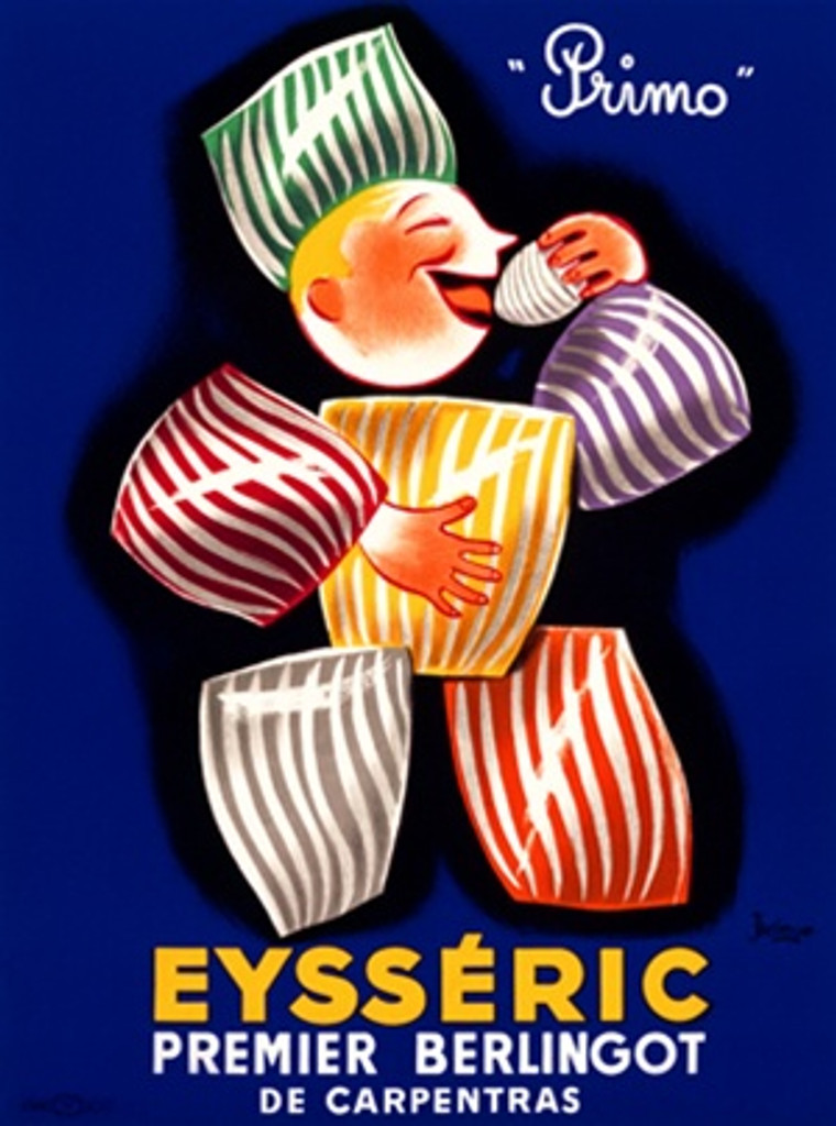 Eysseric poster by Bellenger 1948 France - Beautiful Vintage Posters Reproductions. This vertical French culinary / food poster features a man made of candy eating (licking) a piece of candy on blue background. Giclee Advertising Print. Classic Posters