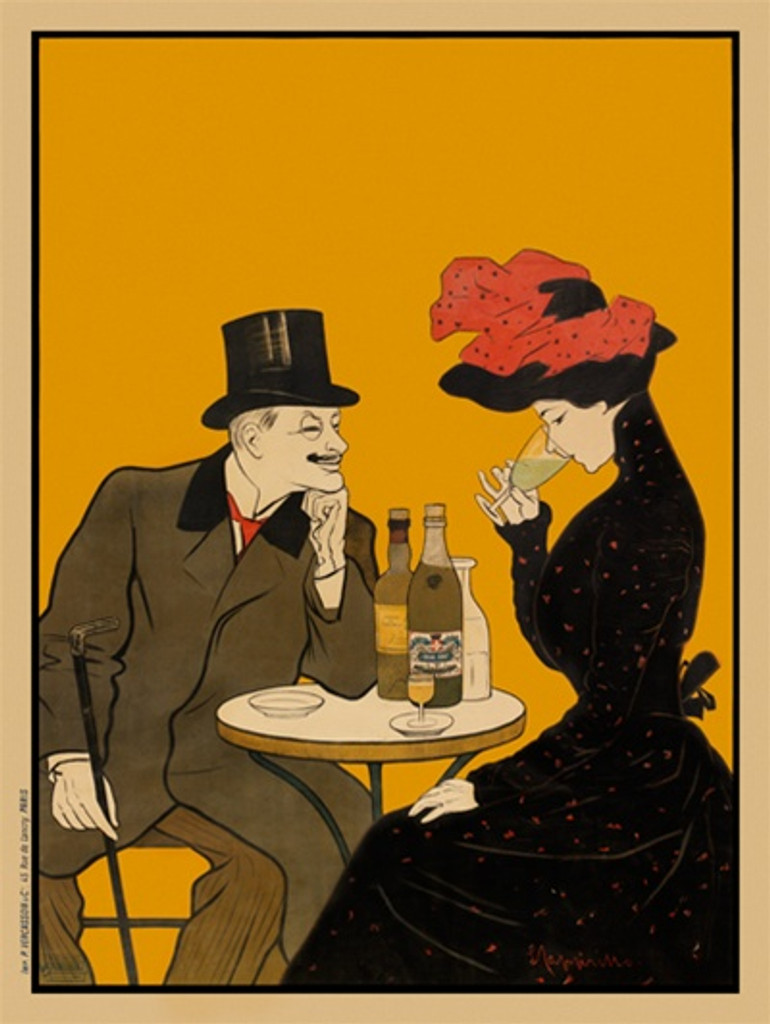 Absinthe J. Edouard Pernot poster by Cappiello - Vintage Posters Reproductions. This vertical French poster features a beautiful woman in black dress sipping absinthe sitting at the table with a gentleman. Giclee Advertising Print. Classic Posters