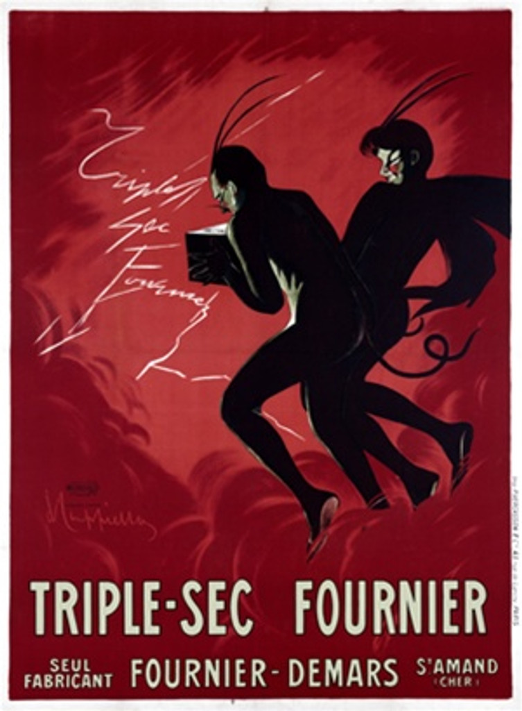 TripleSec Fournier by Cappiello 1907 France - Beautiful Vintage Poster Reproduction. This vertical French wine and spirits poster features a man and women devil. These devils in black are on a red background. Giclee advertising print. Classic Posters