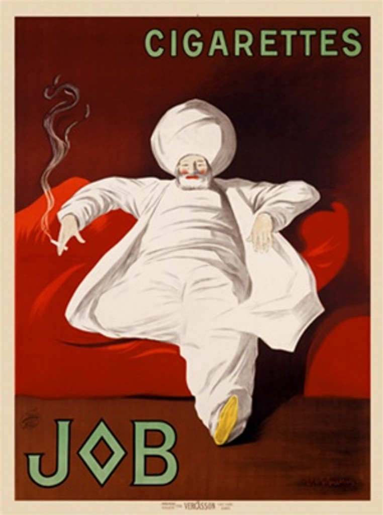 JOB by Cappiello 1909 France - Beautiful Vintage Poster Reproduction. This vertical French poster advertising Job cigarette papers shows a middle eastern man in white smoking on a red couch. Giclee advertising print. Classic Posters