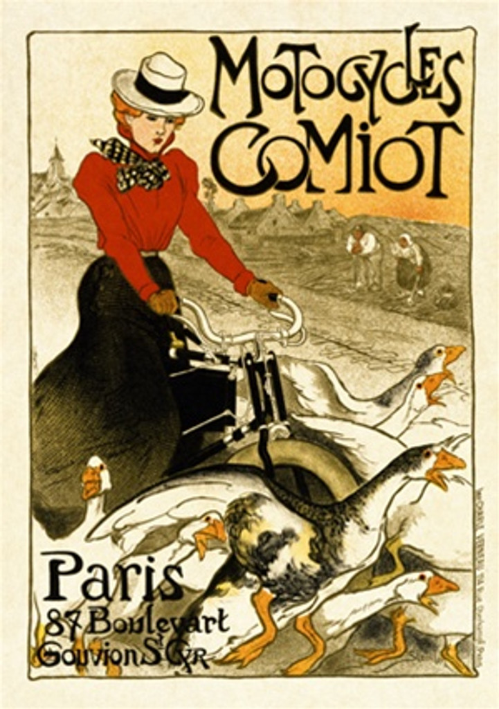 Motocycles Comiot by Steinlen 1899 France - Vintage Poster Reproductions. This vertical French transportation poster features a woman in red blouse riding her bicycle through a flock of geece past a village. Giclee Advertising Print. Classic Posters