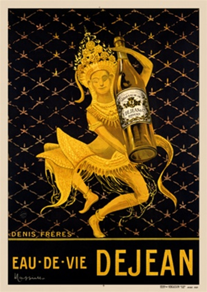 Eau De Vie Dejean by Cappiello Poster France - Beautiful Vintage Posters Reproductions. This vertical French water poster features a women dressed in gold indonesian costume holding a large bottle. Giclee advertising print. Classic