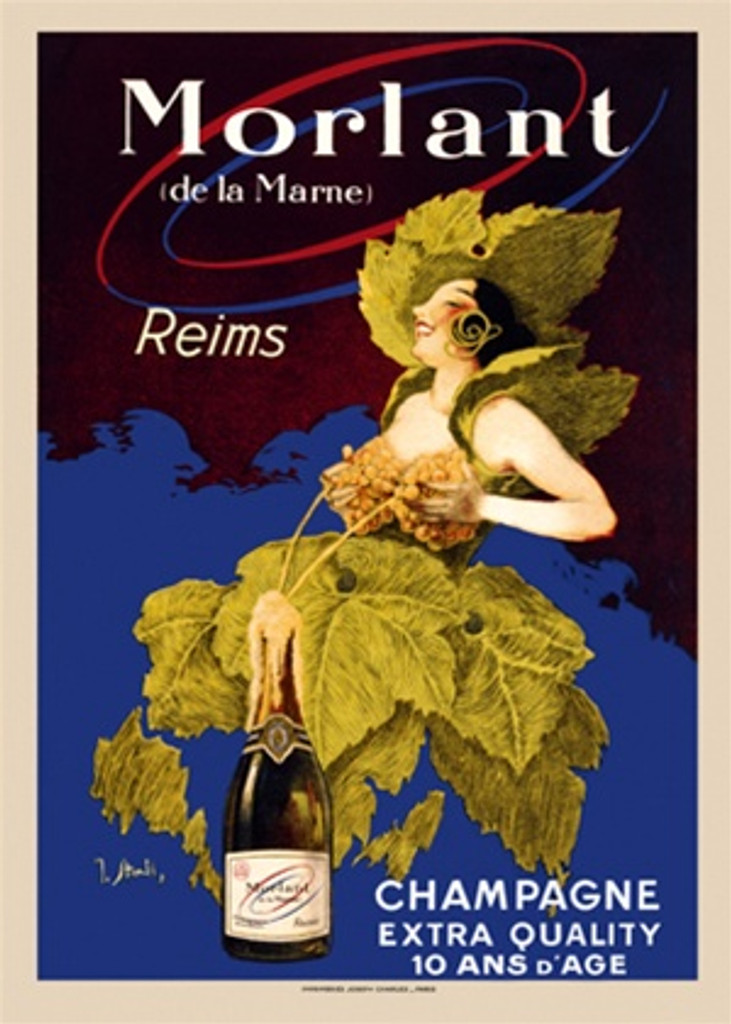 Champagne Morlant Extra Quality poster by J. Stall - Vintage Posters Reproductions. Wine and spirits poster of a women dressed in leaves with a grape bra which she is squeezing champagne from into a bottle. Giclee Advertising Prints. Classic Poster