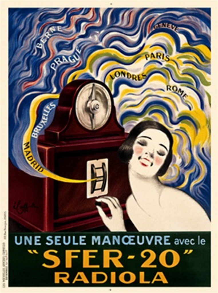 SFER 20 Radiola by Cappiello Poster French -Beautiful Vintage Posters Reproductions. This vertical French poster features a woman smiling and listening to her radio with sound waves with distant locations drawn in around it. Giclee advertising print.