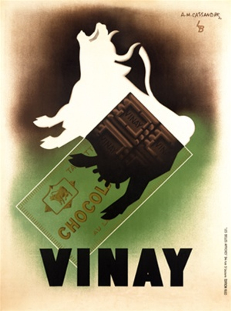 Vinay Chocolat by Cassandre 1930 French - Beautiful Vintage Poster Reproductions. This vertical French culinary / food poster features a white cow mooing with the back quarter looking like a chocolate bar. Giclee Advertising Print. Classic Posters