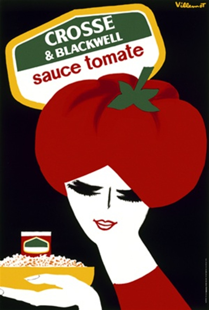 Crosse and Blackwell by Villemot 1968 France - Vintage Poster Reproductions. This vertical French culinary / food poster features a graphic woman with a tomato hat holding a bowl of food on black background. Giclee Advertising Print. Classic Posters