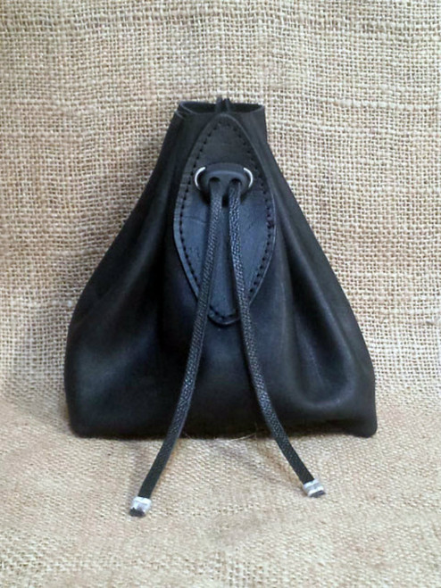 Draw string leather pouch bag .  Black leather accent.