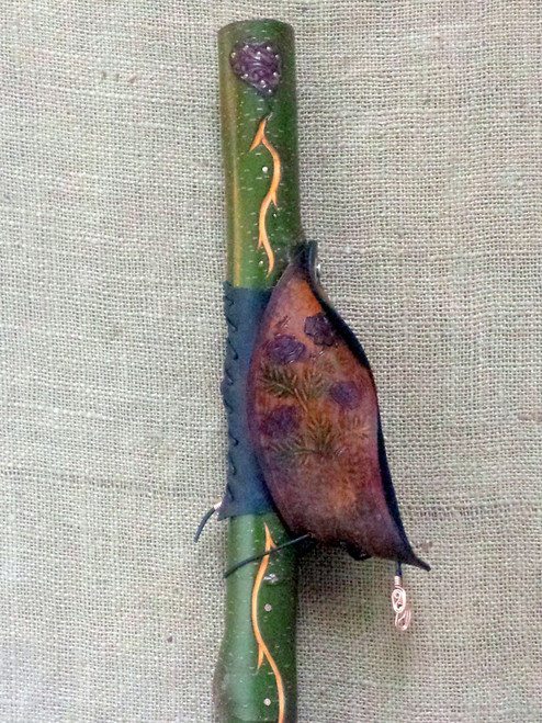 Flowers from the Heart II  carved Walking Stick with unique hand dyed and tooled leather heart at the top.