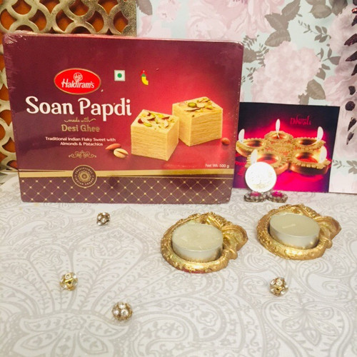 Soan Papadi with a Pair of Diya