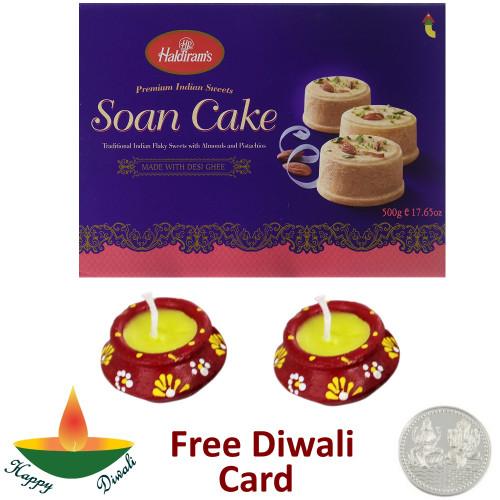 Haldiram Soan Cake with a Pair of Diya