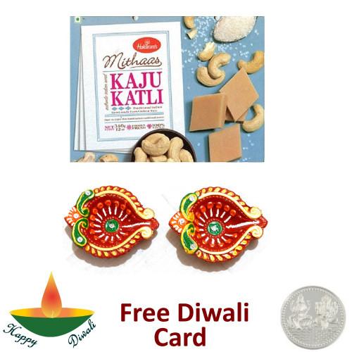 Kaju Katli with a Pair of Diya